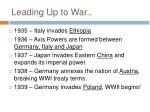 leading up to war