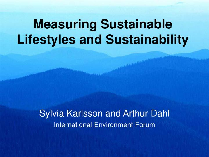 measuring sustainable lifestyles and sustainability n.