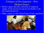 critiques of development post modern stance