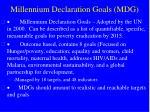 millennium declaration goals mdg