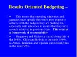 results oriented budgeting