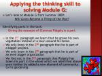 applying the thinking skill to solving module g
