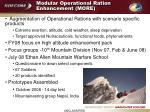 modular operational ration enhancement more