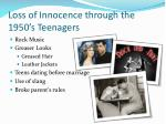 loss of innocence through the 1950 s teenagers