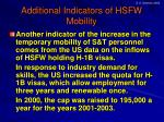 additional indicators of hsfw mobility