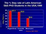 the stay rate of latin american s e phd students in the usa 1999