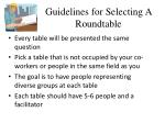 guidelines for selecting a roundtable