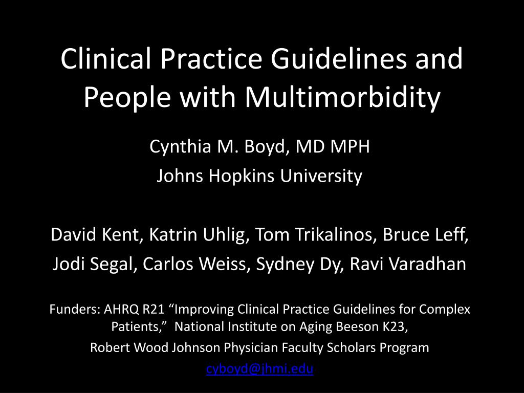 clinical practice guidelines and people with multimorbidity l.