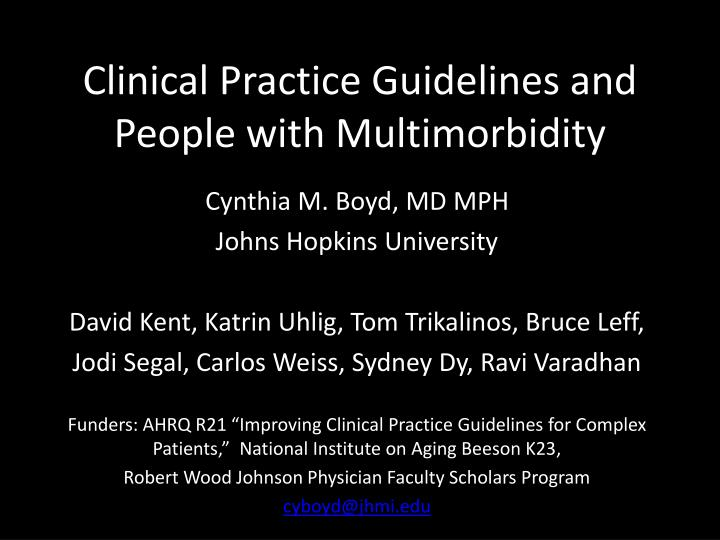 clinical practice guidelines and people with multimorbidity n.