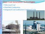 clean coal generation technologies