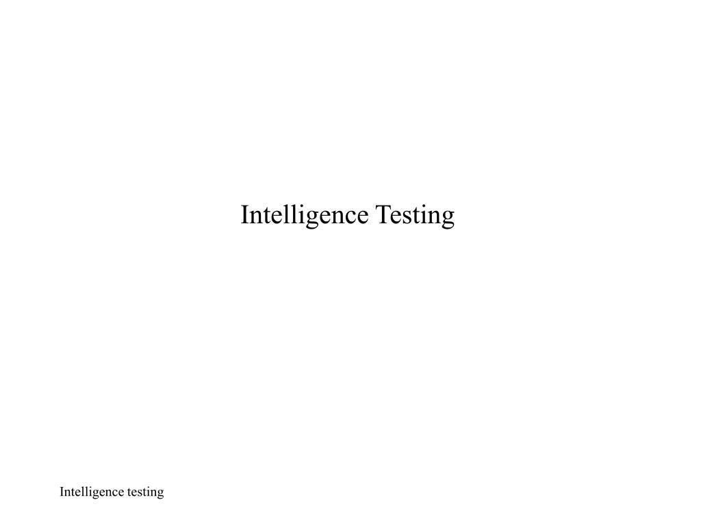 intelligence testing l.