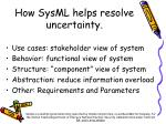 how sysml helps resolve uncertainty