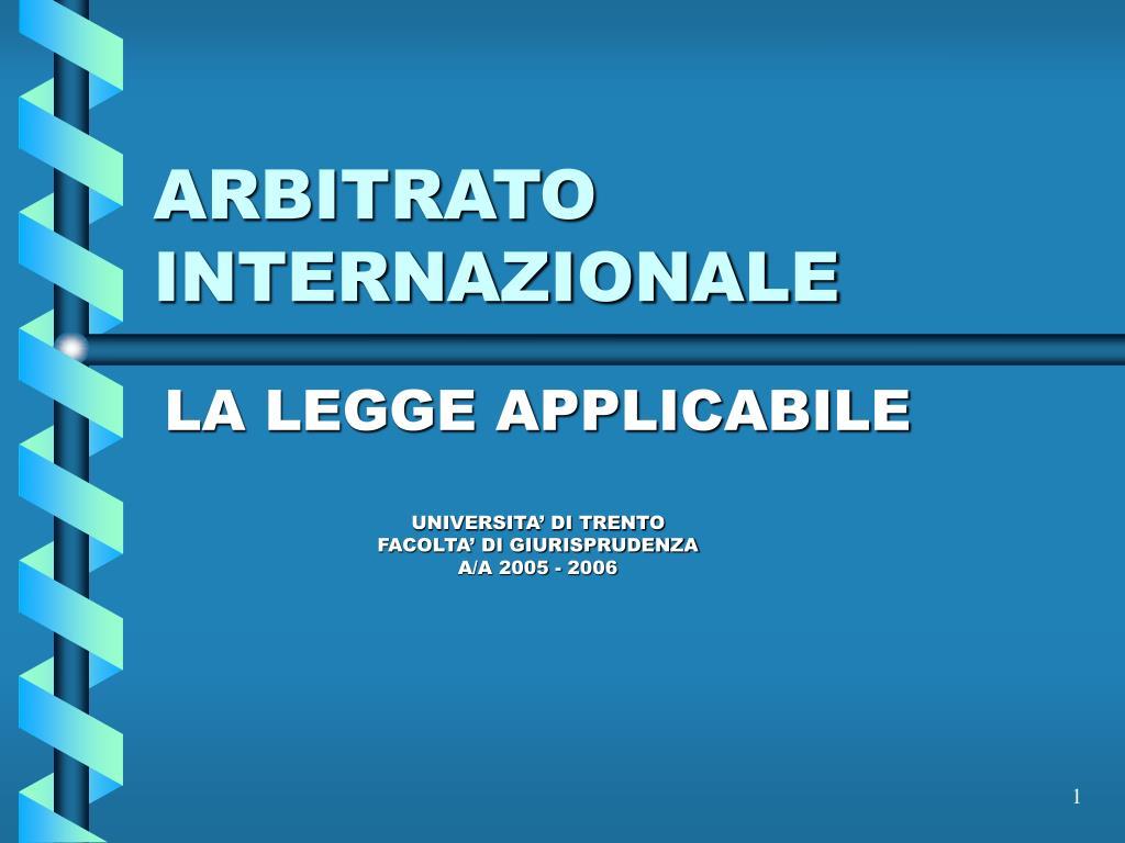arbitrato internazionale l.