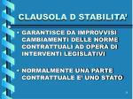 clausola d stabilita