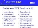 evolution of ncp services in hu