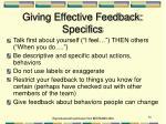 giving effective feedback specifics