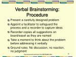 verbal brainstorming procedure