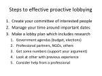 steps to effective proactive lobbying