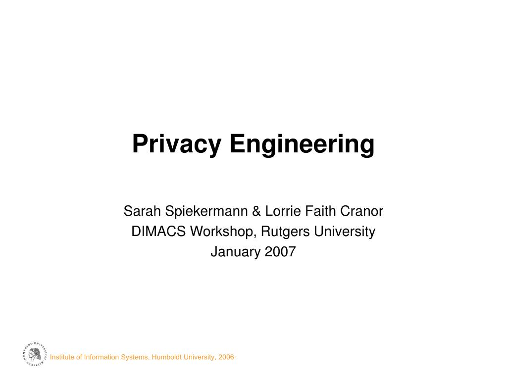 privacy engineering l.