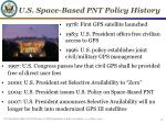 u s space based pnt policy history