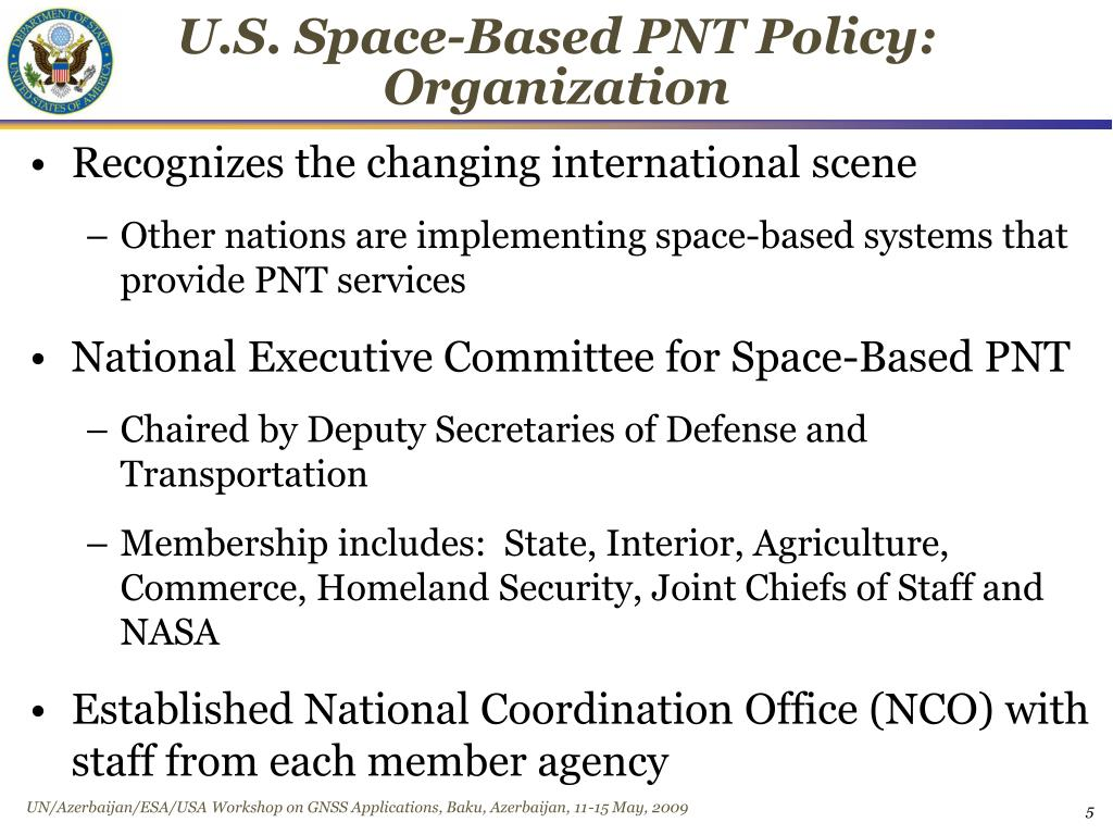 U.S. Space-Based PNT Policy: Organization
