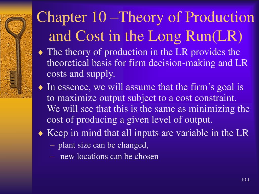 chapter 10 theory of production and cost in the long run lr l.