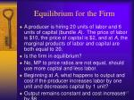 equilibrium for the firm