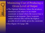 minimizing cost of producing a given level of output