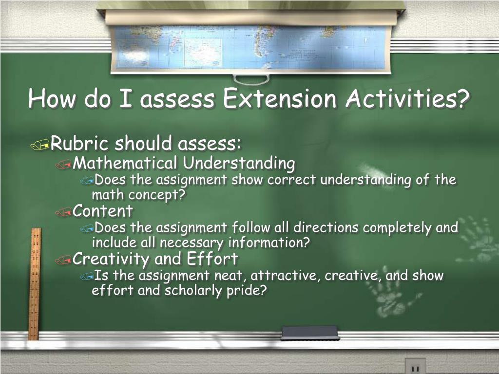 How do I assess Extension Activities?