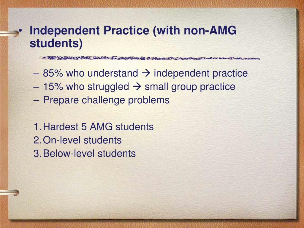 Independent Practice (with non-AMG students)