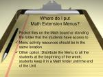 where do i put math extension menus