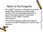 note to participants