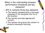 what is the relationship between performance standards and key elements1