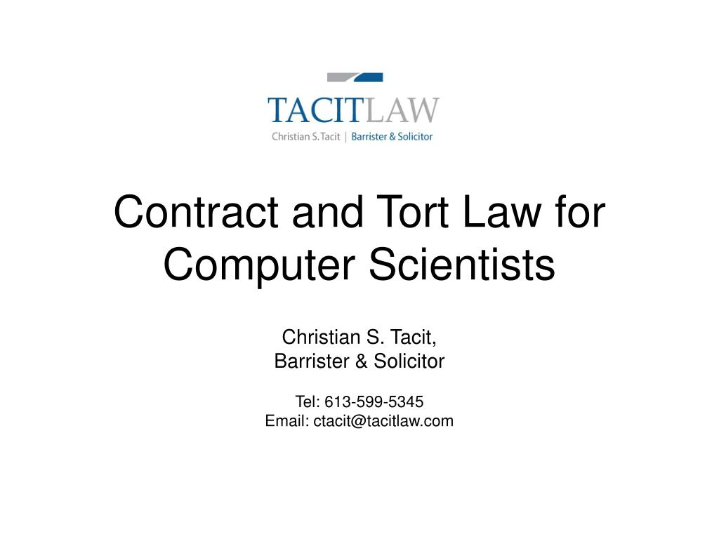 contract and tort law for computer scientists l.