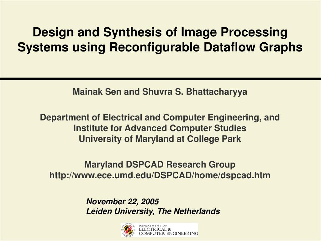 design and synthesis of image processing systems using reconfigurable dataflow graphs l.
