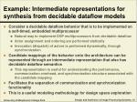 example intermediate representations for synthesis from decidable dataflow models