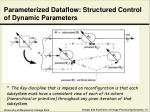 parameterized dataflow structured control of dynamic parameters
