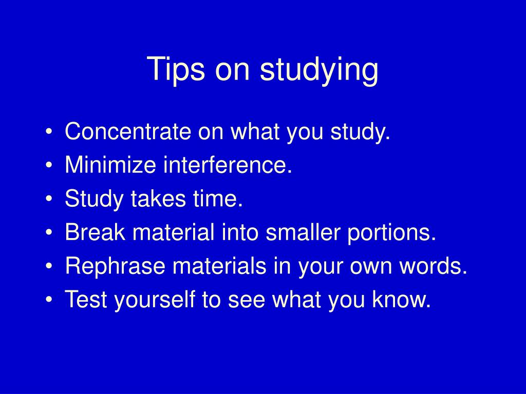 Tips on studying