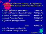 software construction testing a large project from loral formerly ibm federal systems div