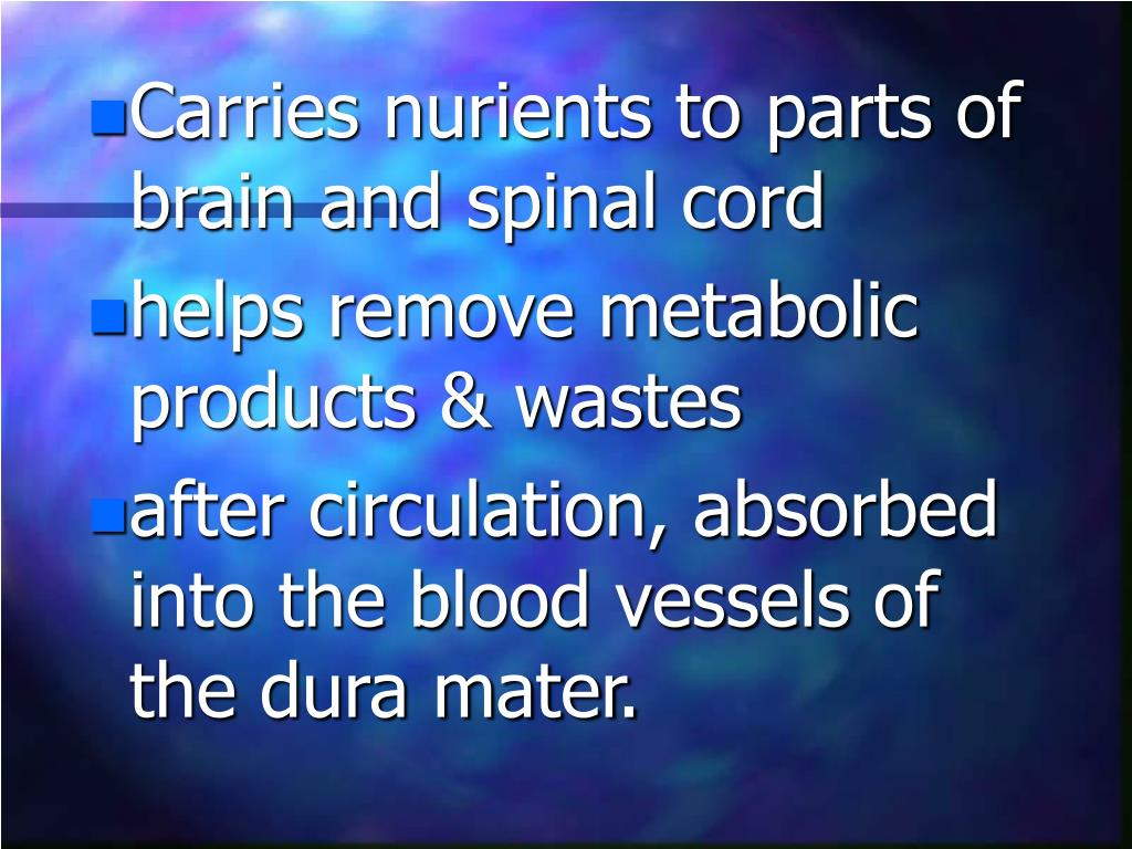Carries nurients to parts of brain and spinal cord