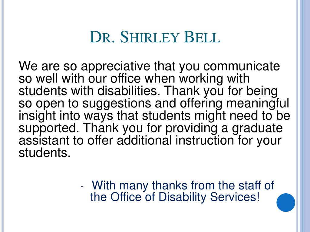 Dr. Shirley Bell
