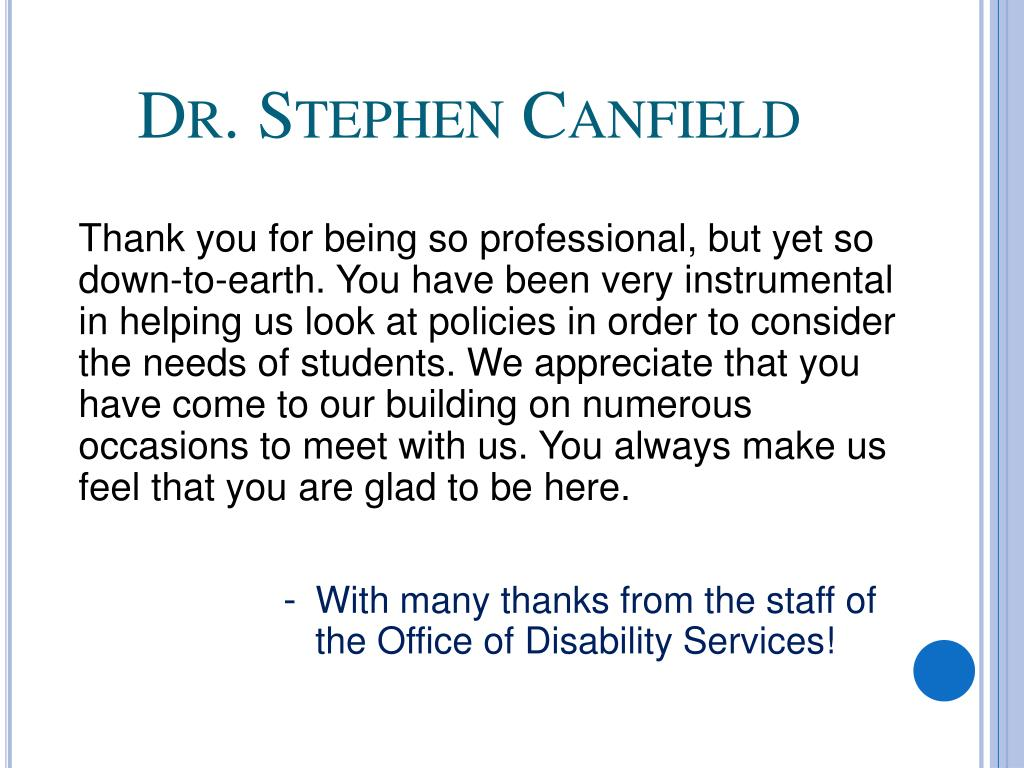 Dr. Stephen Canfield