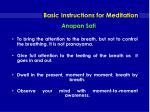 basic instructions for meditation