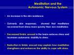meditation and the autonomic nervous system