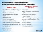 where and why do you need help what are the career problems we face today