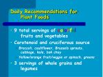 daily recommendations for plant foods