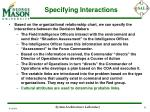specifying interactions