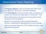 global grants project reporting