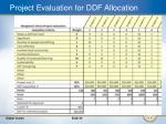 project evaluation for ddf allocation
