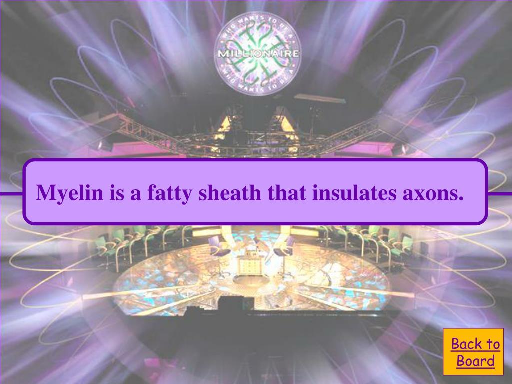 Myelin is a fatty sheath that insulates axons.